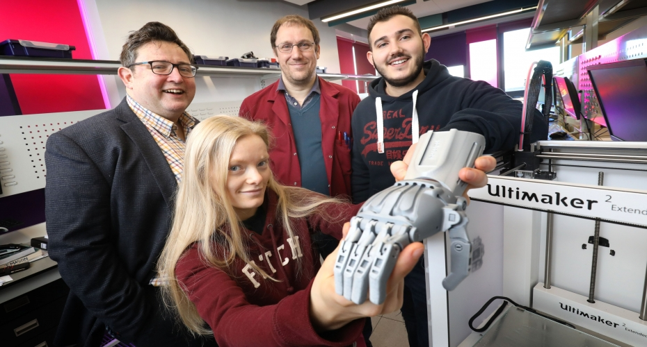 Northumberland College Engineering Students Use 3D Technology to Give a Helping Hand and Support a Global Prosthetic Limb Initiative